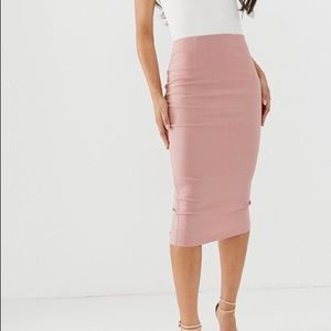 Forever 21 Pink High Waisted Midi Pencil Skirt